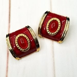 VTG Avon Tailored Coordinates Earrings Red Clip On